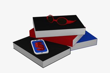 Bücherstapel auf dem ein Handy mit Paragraphenzeichen und eine Brille liegt.