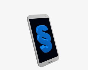 weißes Handy mit Paragraphenzeichen, isoliert auf weiß.