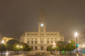 Foggy Porto City Hall, Portugal