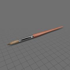Round paintbrush with wood handle