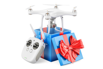 Drone quadrocopter with remote control inside gift box, gift concept. 3D rendering