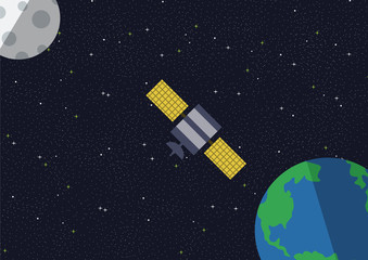 Satellite with planets and stars. Vector illustration