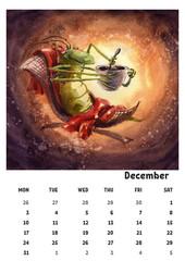 2018 calendar template december with watercolor grasshopper