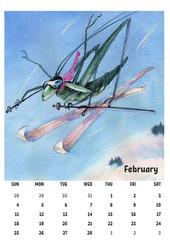 2018 calendar template february with watercolor grasshopper
