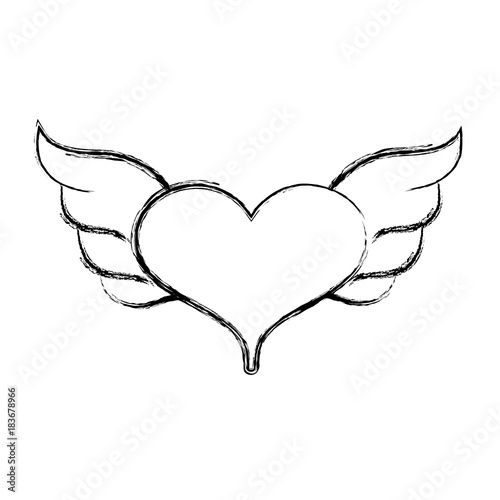 Figure Heart With Wings Symbol Love Art Stock Image And Royalty
