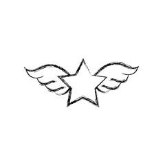 figure star with wings rock symbol art