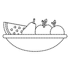 fruit bowl icon image vector illustration design  black dotted line