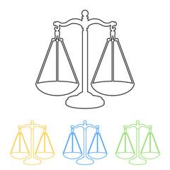 Icono plano linea balanza en varios colores