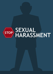 Sexual harassment poster with man