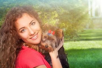 Woman and dog.