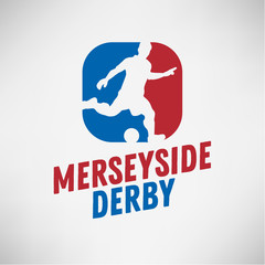 Merseyside Derby Of Liverpool And Manchester, United Kingdom, England. Football Or Soccer Logo Label Emblem Design With A Player Silhouette.
