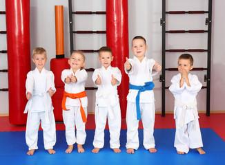 Little children wearing karategi in dojo