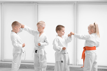 Little children practicing karate in dojo