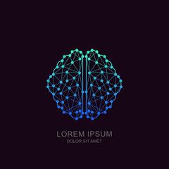 Vector human brain in low poly particles tech style. Logo, icon, emblem design template. Futuristic concept for neural networks, artificial intelligence, education and high technology.
