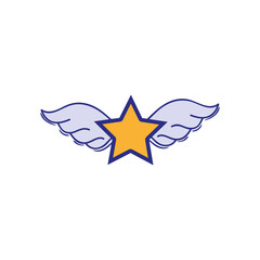 full color star with wings rock symbol art