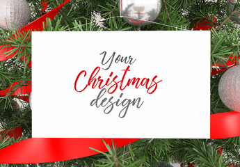 Card in Christmas Tree Mockup