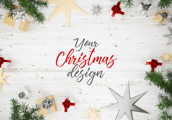 Top View Christmas Composition Mockup 1