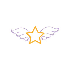 color line star with wings rock symbol art