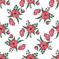 Vector seamless pattern with red poppies, white daisies, blue cornflowers and ears of wheat on a white background. illustration for your web design.