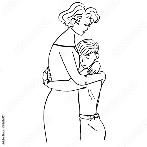Mother Hugs Her Son Lovely Illustration With Young Woman And Child For