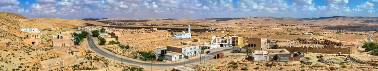 Panorama of Ksour Jlidet village in South Tunisia