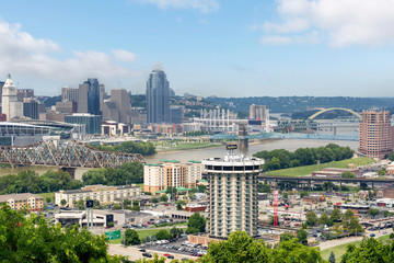 Skyline of Cincinnati, Ohio in Summer from over the Ohio River