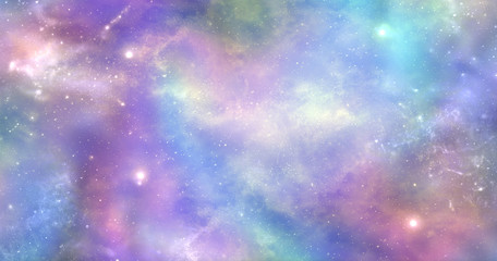 Space is not just dark and deep it is also filled with heavenly light and colour - Vibrant deep space banner background with many different stars, planets and cloud formations