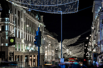 Picadilly decorated for Christmas, London