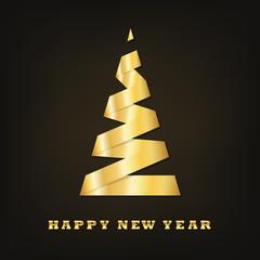 Golden Christmas tree. Vector illustration.