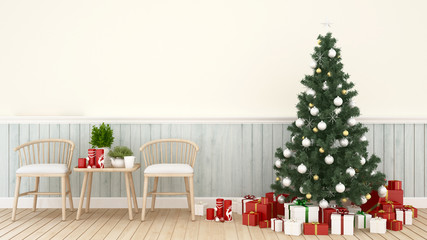 living area with christmas tree and gift box in living room -  artwork for Christmas day or happy new year- 3D Rendering