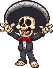 Happy Mexican skeleton mariachi. Vector clip art illustration with simple gradients. All in a single layer.