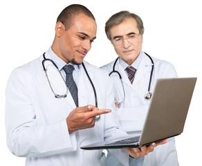 Portrait of Doctors Using a Laptop