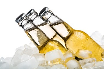 Beverage Bottles with Ice