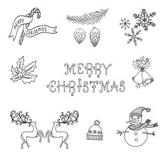 Merry Christmas Set of Doodle Icons for New Year Season. Black and White Illustration