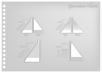 Paper Art of Population Pyramids Graphs with 4 Generation