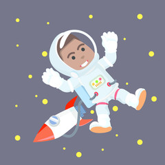 African astronaut in space– stock illustration
