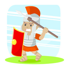 African roman soldier taking spear for throwing– stock illustration