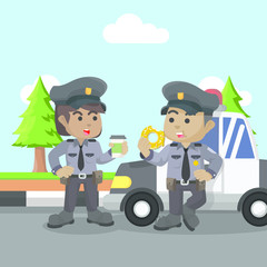 African policeman and policewoman chat– stock illustration