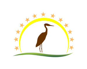 silhoutte stork star illustration