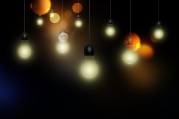 Light bulbs on dark background