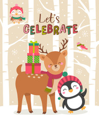 Cute animals cartoon illustration for christmas and new year card design