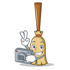 Photographer broom character cartoon style