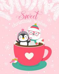 Cute cartoon animals in love concept for christmas and new year card design