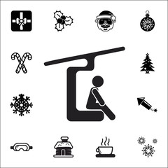 ski lift icon. Set of elements Christmas Holiday or New Year icons. Winter time premium quality graphic design collection icons for websites, web design
