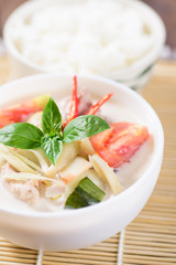 Thai food (Tom Kha Kai), Thai coconut milk soup with chicken and cooked rice
