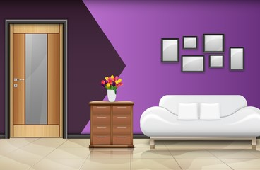 Closed wood door with white sofa and pillows on purple wall background