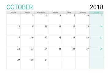 2018 October calendar or desk planner, weeks start on Monday