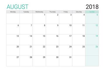 2018 August calendar or desk planner, weeks start on Monday