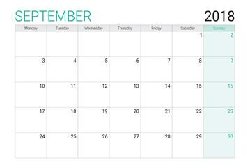 2018 September calendar or desk planner, weeks start on Monday