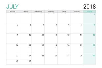 2018 July calendar or desk planner, weeks start on Monday